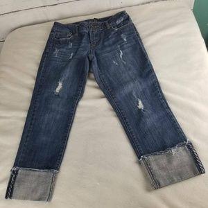 Apt 9 Womens Denim Capri Blue Stretch Zip Fly Cuff